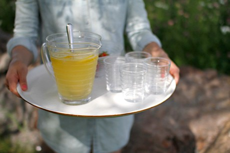 Lemonade on a hot summer day.